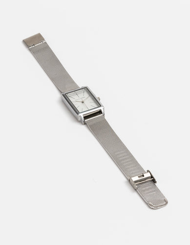 Silver Rectangle Face Watch