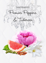 Load image into Gallery viewer, PEONIES PEPPERS & TUBEROSE REED DIFFUSER OIL & LUXURY BLACK REEDS