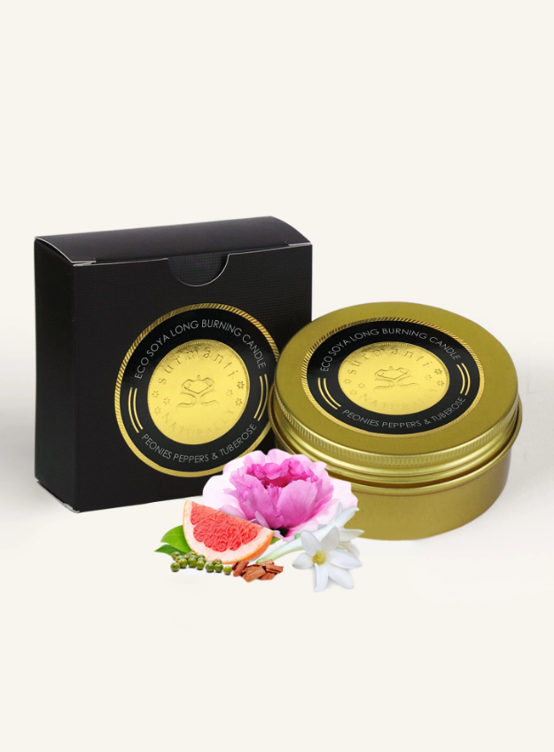 PEONIES PEPPERS & TUBEROSE ECO SOYA LONG BURNING TRAVEL CANDLE