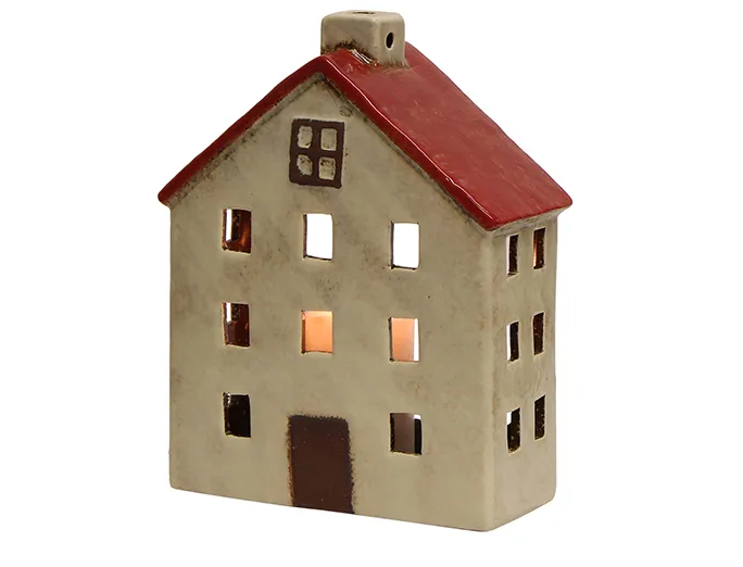 Wide Red & White Tea Light House