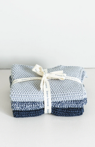 LAVETTE INDIGO WASHCLOTHS - SET OF THREE