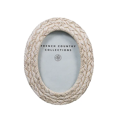 Rope White Wash Oval Photo Frame