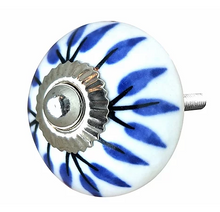 Load image into Gallery viewer, White & Blue Painted Petals Knob
