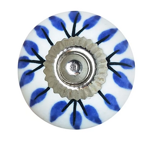 White & Blue Painted Petals Knob