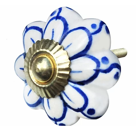 White & Blue Simple Flower Knob