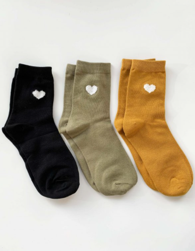 Black/Mint/Mustard Heart Socks Set of 3