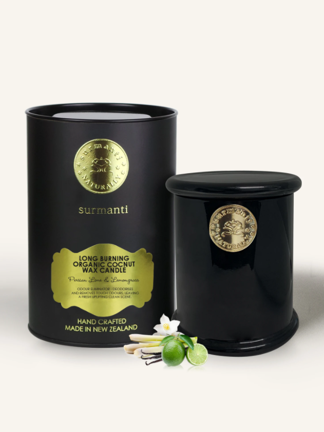 PERSIAN LIME & LEMONGRASS LONG BURNING ORGANIC COCONUT WAX CANDLE - ODOUR ELIMINATOR
