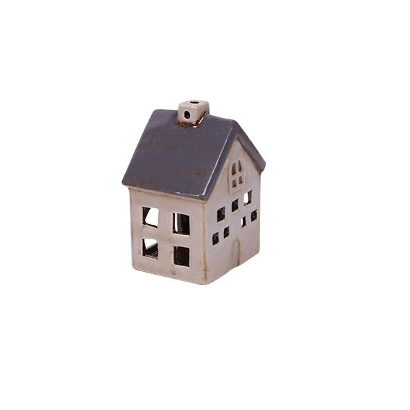 Short Grey & White Tea Light House