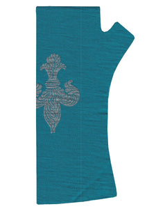 Teal fleur-de-lis Print Merino Fingerless Gloves