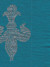 Load image into Gallery viewer, Teal fleur-de-lis Print Merino Fingerless Gloves