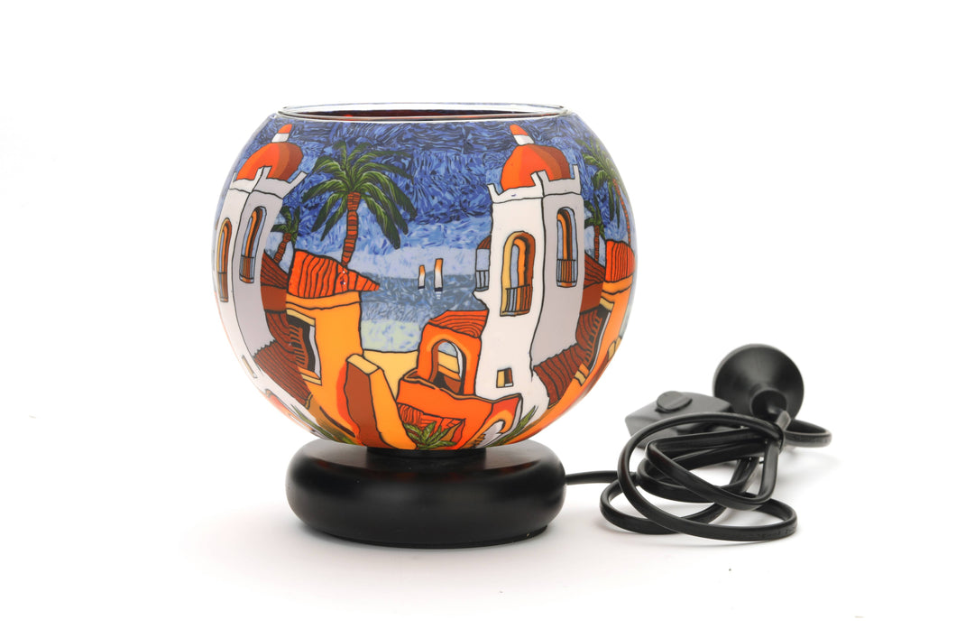 Santorini Sunset Glass Lamp