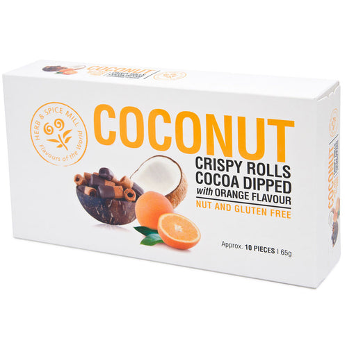 Coconut Crispy Rolls Cocoa Dipped with Orange Flavour