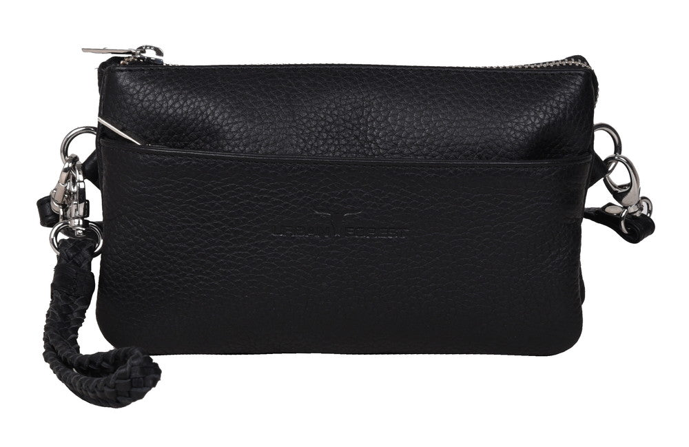 Sofie Small Leather Clutch/Sling Rambler Black
