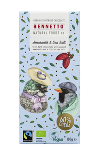 BENNETTO AMARANTH & SEA SALT 100G CHOCOLATE BAR
