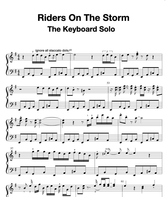 Rider On The Storm, The transcribed keyboard solo