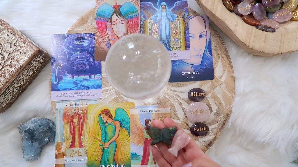 Angel Cards + Crystal Reading - 60 mins Recorded Video - Up to Eight Questions
