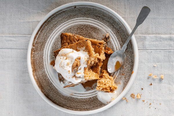 White Chocolate Blondies with Maple Sauce