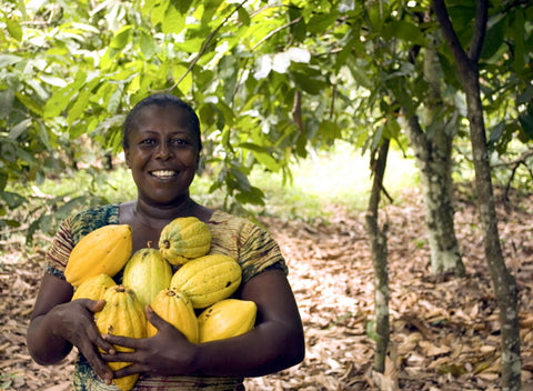 Woman holding handful of cocoa