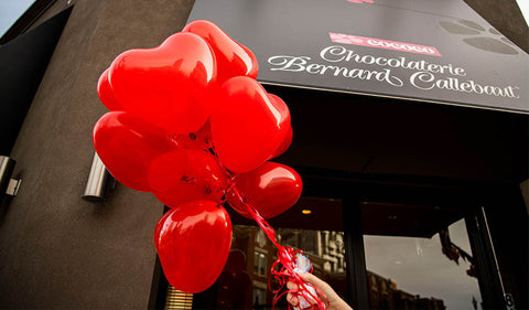 Cococo Chocolatiers location with heart balloons