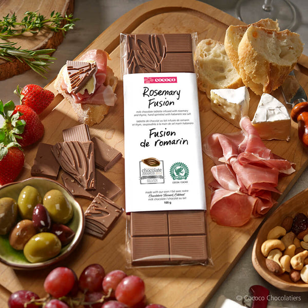 A Rosemary Chocolate Fusion Bar on a charcuterie board