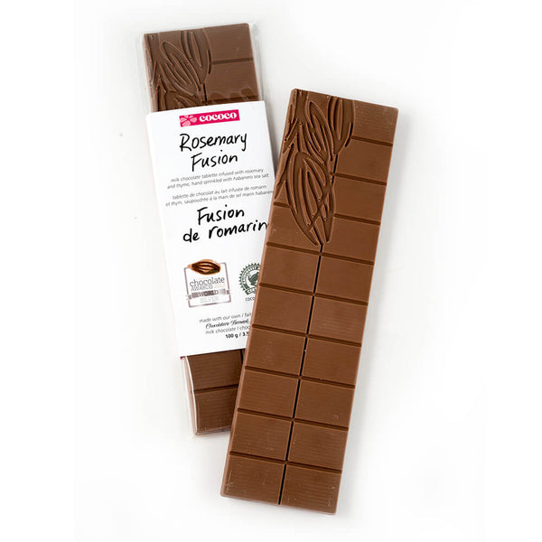 Two bars of Rosemary Chocolate Fusion