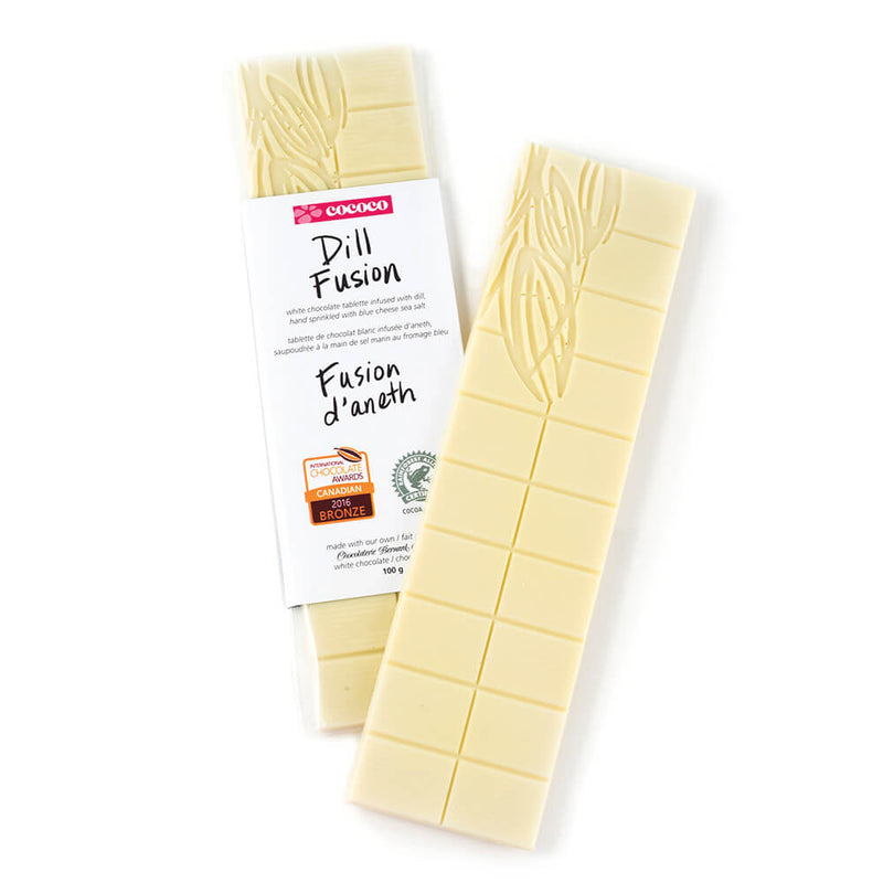 Two bars of white chocolate, one packaged