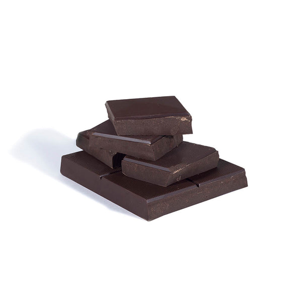 Stacked chunks of dark chocolate