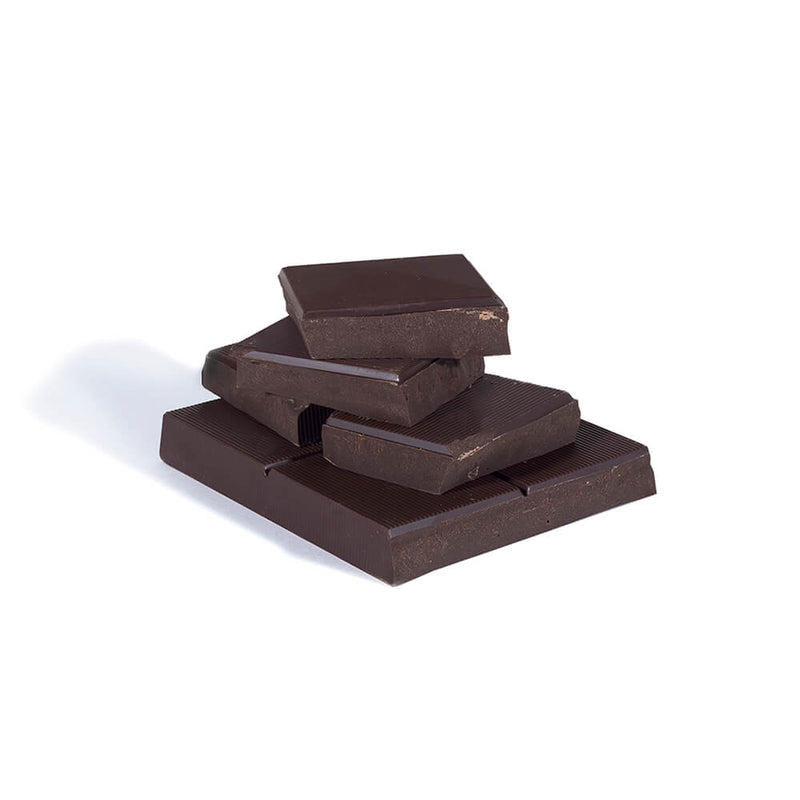 Stack of dark chocolate baking bar chunks