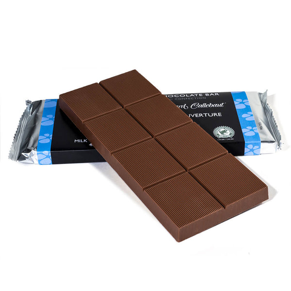 Milk chocolate baking bar propped up on to a packaged baking bar