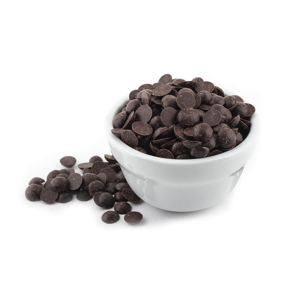 Bowl of bittersweet chocolate chips