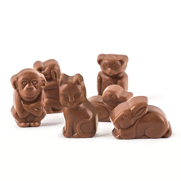 Six milk chocolate animals