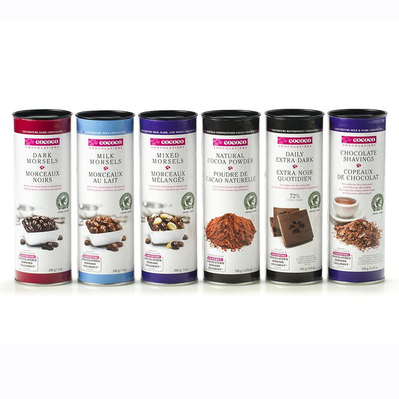 Row of six chocolate baking product canisters