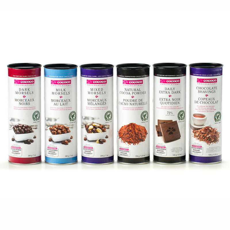 A row of six canisters of chocolate products for baking