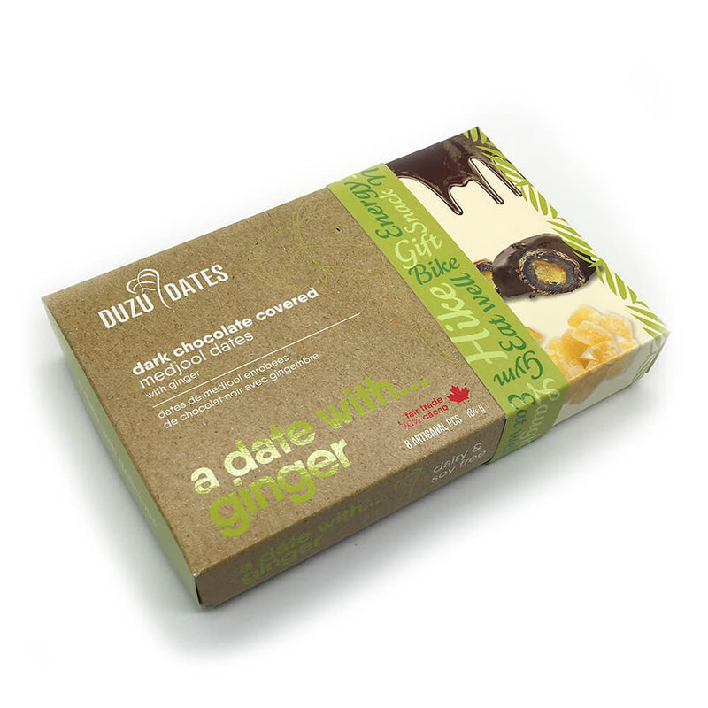 Duzu Date Vegan Ginger Dark Chocolate Covered Medjool Dates