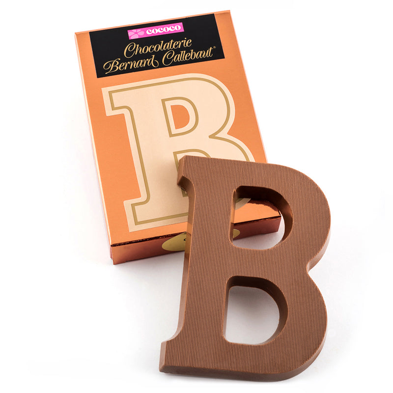 Milk chocolate letter B on top of it's Chocolaterie Bernard Callebaut®  box