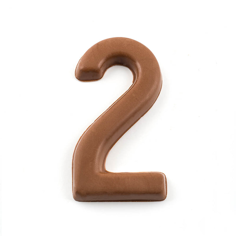 Top view of a milk chocolate number 2
