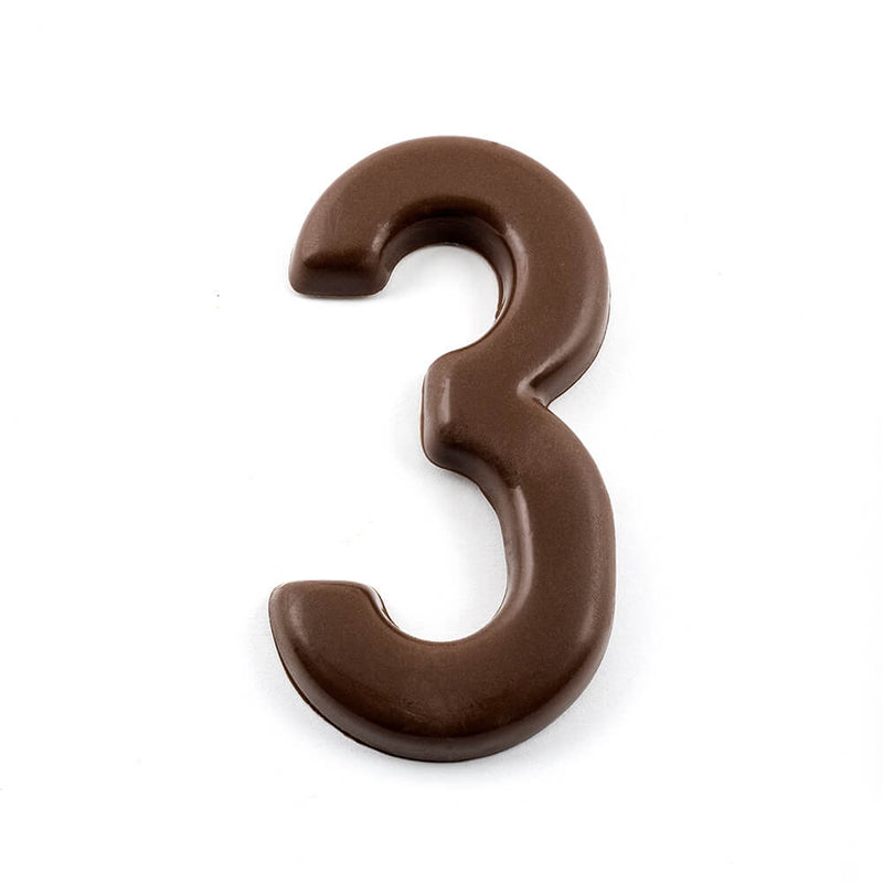 Top view of number 3 in dark chocolate