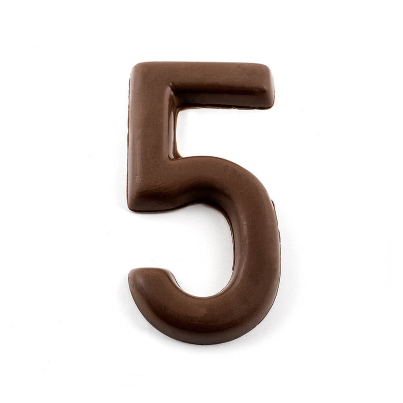 Top view of number 5 in dark chocolate