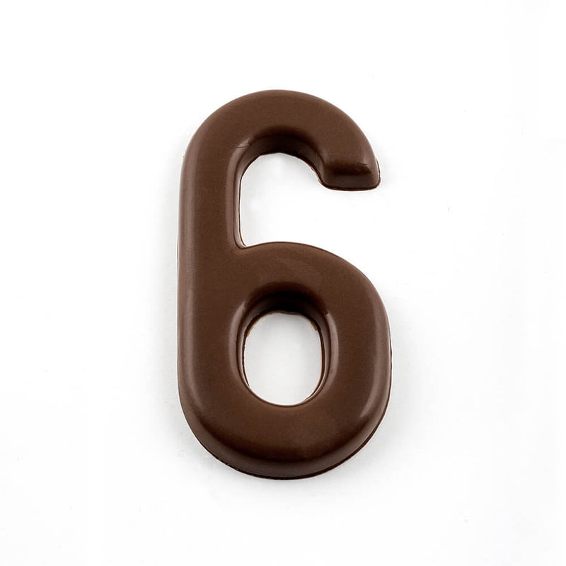 Top view of number 6 in dark chocolate