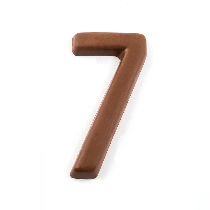 Top view of a milk chocolate number 7