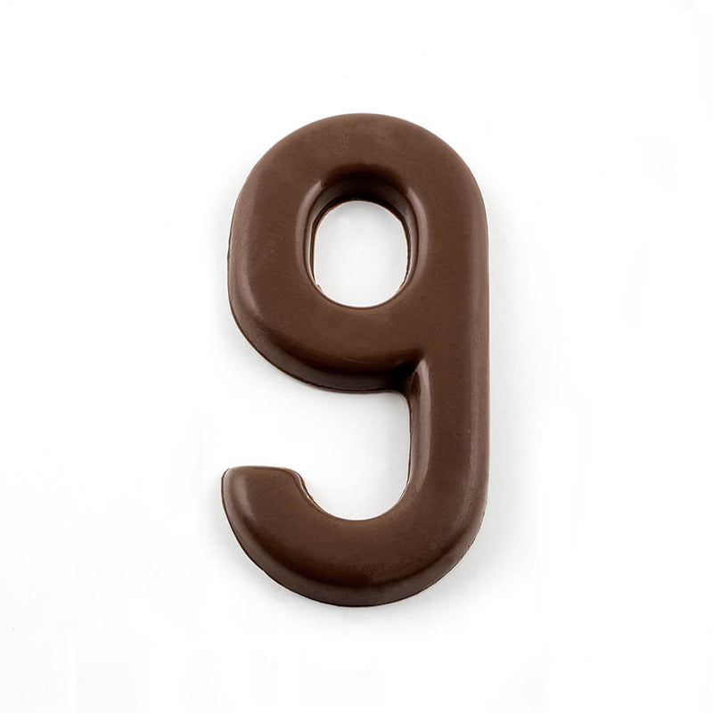 Top view of number 9 in dark chocolate