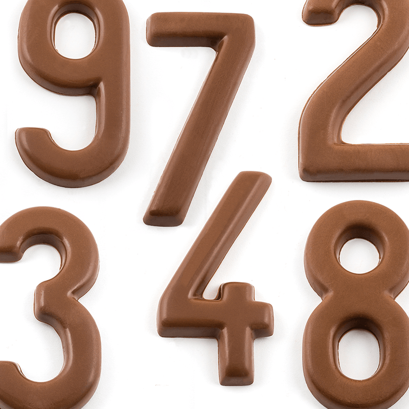 Top view of milk chocolate numbers 9, 7, 4, 2, 8, and 3