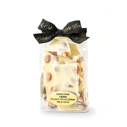 Package of almond bark with Chocolaterie Bernard Callebaut black ribbon