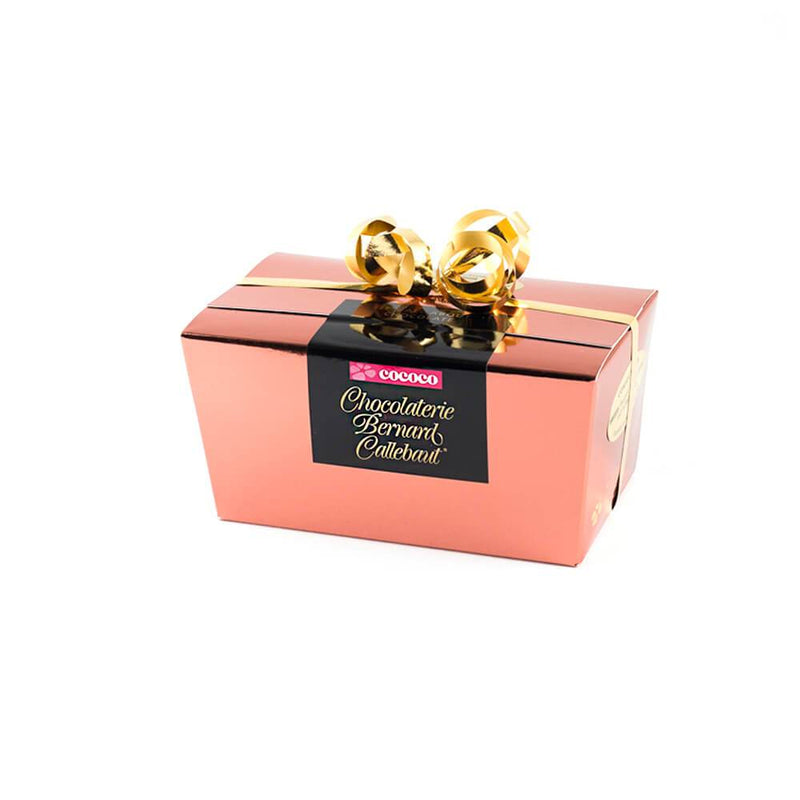 Chocolaterie Bernard Callebaut® copper chocolate box with gold ribbon
