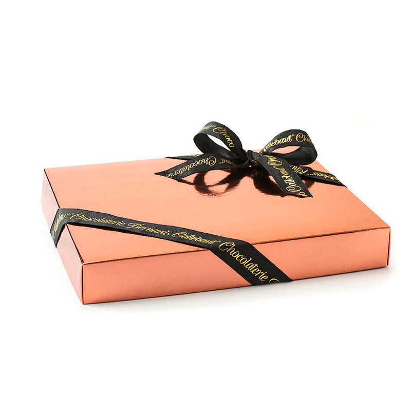 Chocolaterie Bernard Callebaut® flat presentation box of chocolate with black ribbon