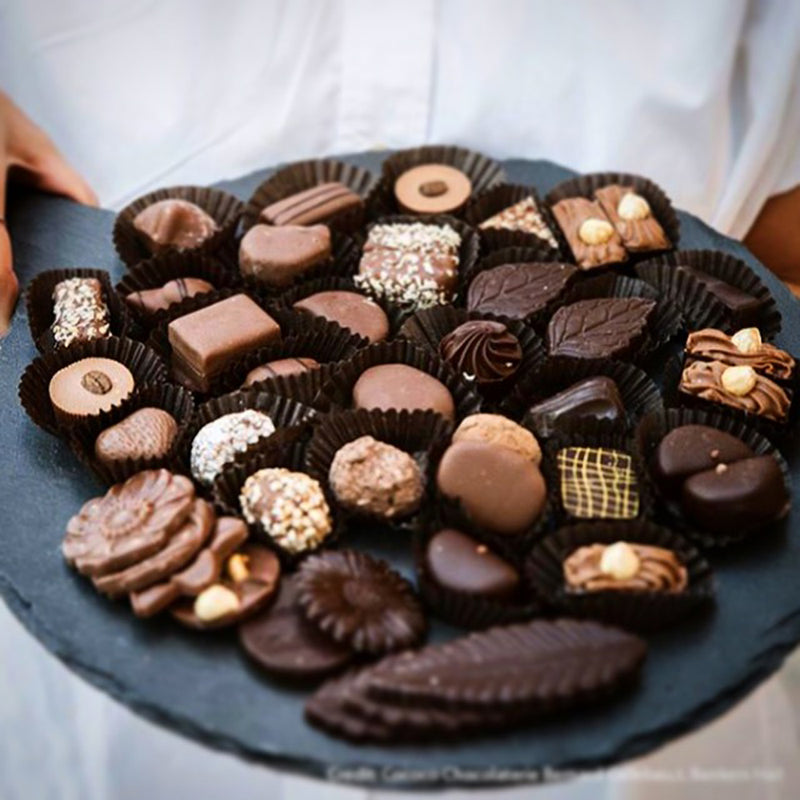 Platter of assorted chocolates