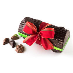 Dark Chocolate Yule Log with red ribbon