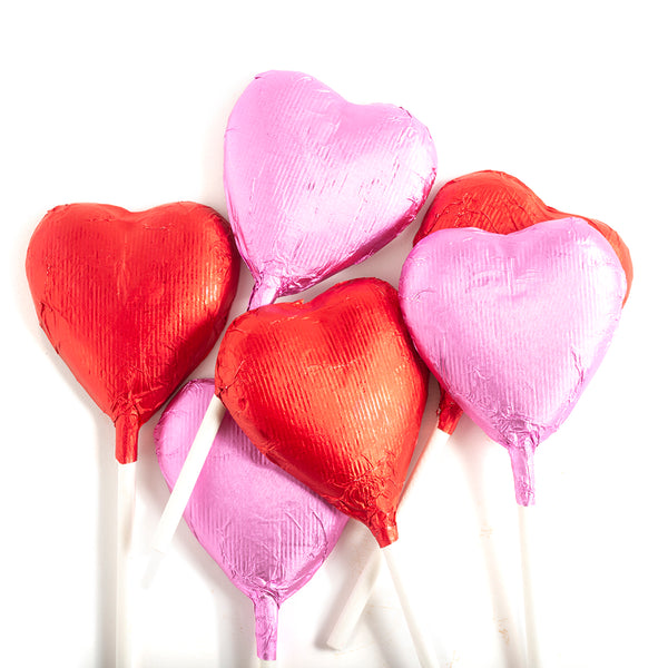 Heart Lollipops in Milk Chocolate, 6 pc