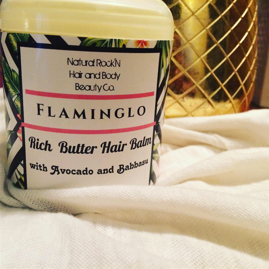 Flaminglo Rich Butter Hair Balm 6 Oz.- Perfect for shine  Boost & Moisture Sealant for Natural & Straightened Hair