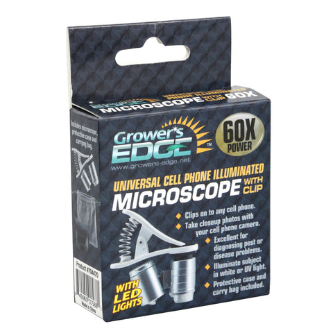 Grower's Edge Universal Cell Phone Illuminated Microscope w/ Clip - 60x